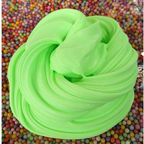 Jumbo Fluffy Slime Ice Cream Green Non-sticky Super Soft Fluffy Floam Slime 6 OZ With Colorful Foam Balls Stress Relief Sludge Toy for Adult Kids, ASTM Certified