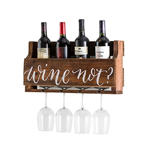 del Hutson Designs - The Little Elm Wine Rack w/Quote 'Wine Not?', USA Handmade Reclaimed Wood, Wall Mounted, 4 Bottle 4 Long Stem Glass Holder (Walnut) (Stem Rack)