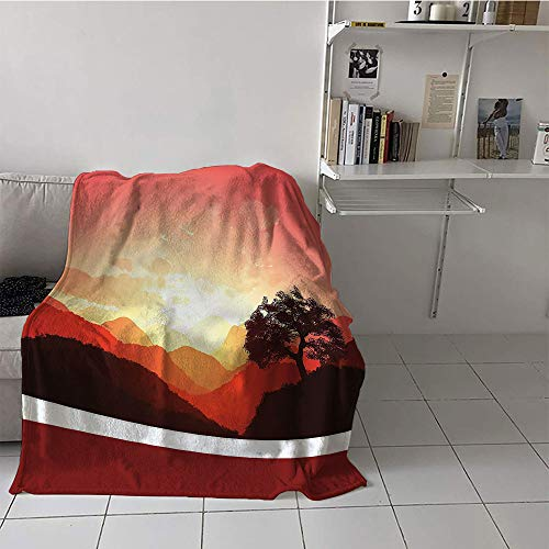 Khaki home Children's Blanket Stroller Soft Blanket Microfiber (70 by 90 Inch,Mystic,Magical Oriental Sunset View with Tree and Mountains Mystique Hills,Coral Orange Dark Brown