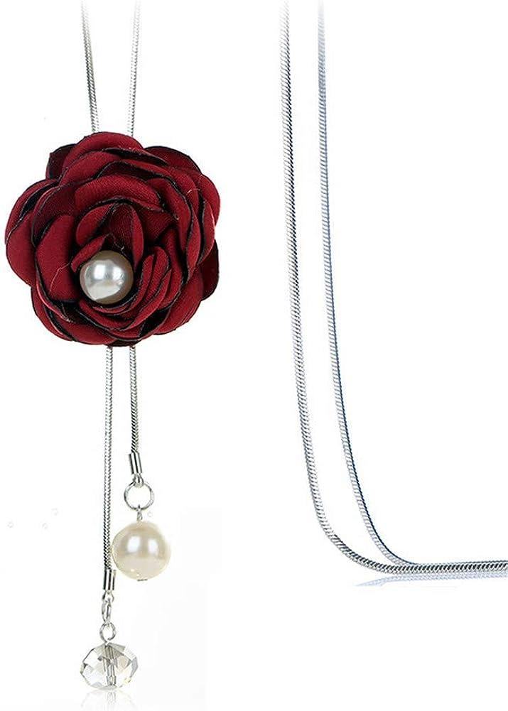 Vioness - Collar con Colgante Largo para Mujer y niña, aleación de Tela de Flor Rosa roja y Perla Ajustable, Cadena de Borla para Regalo