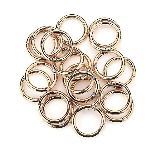 20 Pcs Round Carabiner Gate O Spring Loaded Gate Clips Hook Key ring Buckle (Gold)