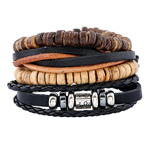 SIVITE Handmade Multilayer Braided Leather Beading Bracelet Vintage Cuff Bangle for Men Set of 4 (Wooden Shell Bangles)