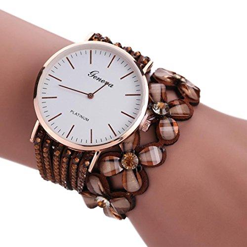 Iuhan Clearance Sale! Women's Bracelet Watch, Leisure Womens Quartz Bracelet Watch Crystal Diamond Wrist Watch Fashion (Brown)