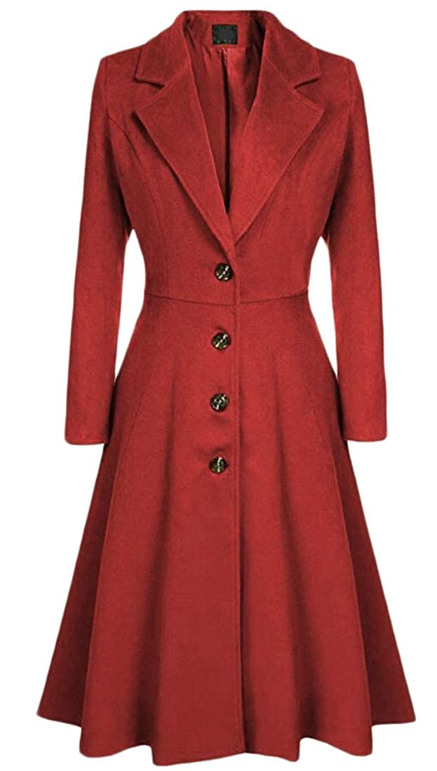Red Generic Women's Elegant Lapel Mid Long Jackets Single Breasted Swing Trench Coats