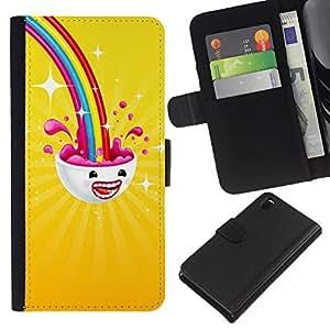 KLONGSHOP // Tirón de la caja Cartera de cuero con ranuras para tarjetas - Arco iris sobre mí - Sony Xperia Z3 D6603 //