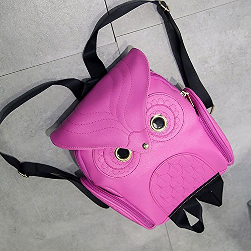 Mini Red Backpack Fashion Pink Leather Cartoon Owl Rose Pu Girl's Bag YqwaZ4Y