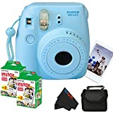 Fujifilm Instax Mini 8 Instant Film Camera (Blue) + (2) Fujifilm INSTAX Mini Instant Film (Twin Pack) + Soft Carry Case + PixiBytes Exclusive Cleaning Cloth