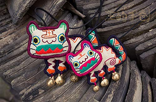 Libaraba Lovely Cotton Embroidery Adorkable Tiger with Bell Pendant Necklace with Jewelry Box,Tiger Necklace for Women,Kids (Mom) by Libaraba