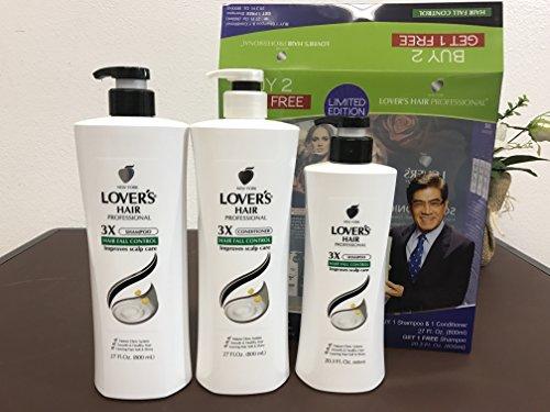Lover's Hair Professional Limited Edition Buy 1 Shampoo (27 Fl. Oz.) + 1 Conditioner (27 Fl. Oz.) Get 1 Free Shampoo (20.3 Fl. Oz.) (Hair Fall Control) (Best Hair Shampoo For Hair Fall)
