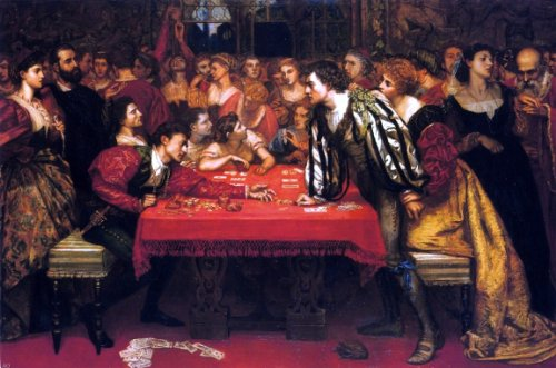 Valentine Cameron Prinsep Venetian Gaming-House in the Sixteenth Century - 24'' x 36'' 100% Hand Painted Oil Painting Reproduction by Art Oyster