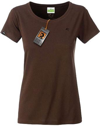 e48f7b223fad8 COMPANIEER JAN 8007 Damen Bio Baumwolle Basic Girlie T-Shirt Braun Frauen  Women's Organic Cotton