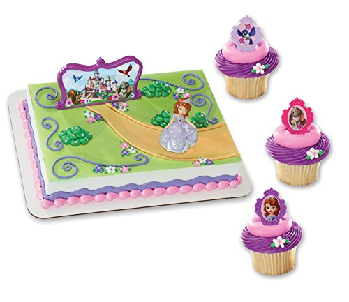 Maven Gifts: DecoPac Sofia The First Bundle - 12-Count Sofia's Friends Cupcake Rings (12 Count) with DecoSet Sofia and Castle Cake Topper (Souvenirs Princess Sofia)