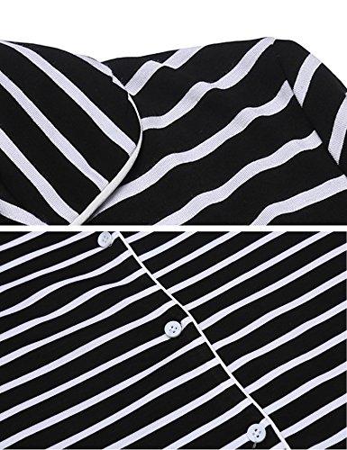 V da Scollo Donna a da Notte Nero S Notte Corta Camicie Camicia XL a Manica MAXMODA Righe Comodo R876qWt