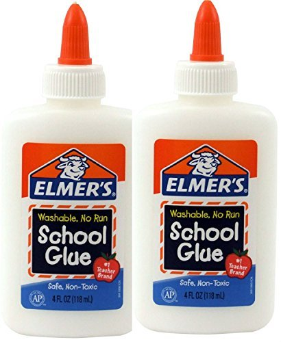 Elmer's Washable No-Run School Glue, 4 oz, 2 Bottles (E304)
