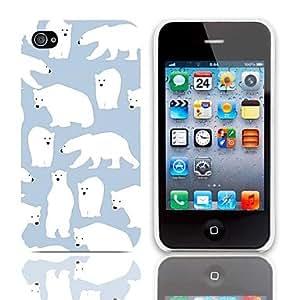 GONGXI-Patrón Polar Bear estuche rígido con paquete de 3 protectores de pantalla para iPhone 4/4S