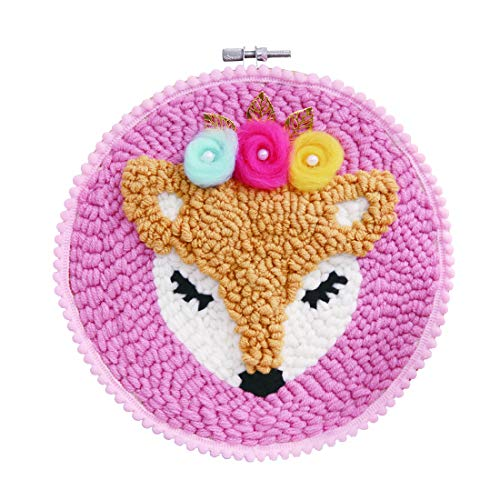 RuiyiF Latch Hook Kits for Kids Beginner Preprinted, DIY Rug Hooking Kit with Punch Needle Colorful Yarn for Kids Adult (Fox)