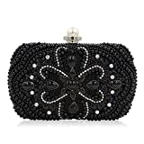 Huasen Evening Bag Pearl Embroidery Evening Bag with Diamond Hand Bag Upscale Pearl Banquet Bag Girl Party Handbag (Color : Black)