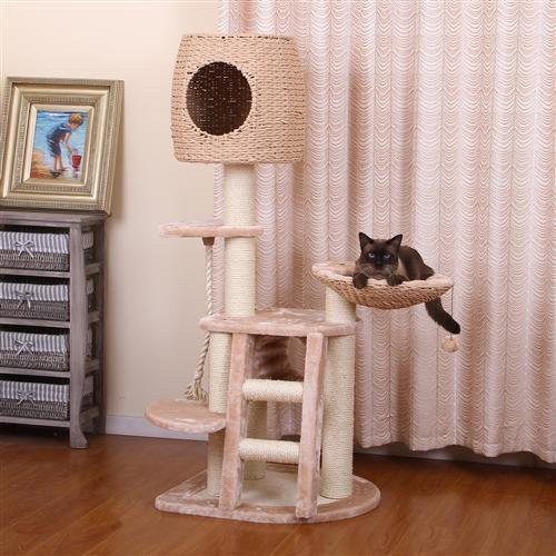 PP0153A Natural & ECO Collection - PETHOUSE - Multi-Level Paper Rope and Sisal Playground w/Condo Lookout and Lounging Pad for Cat