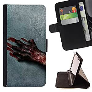 BullDog Case - FOR/Samsung Galaxy A3 / - / blood hand scary Halloween grey horrible /- Monedero de cuero de la PU Llevar cubierta de la caja con el ID Credit Card Slots Flip funda de cuer