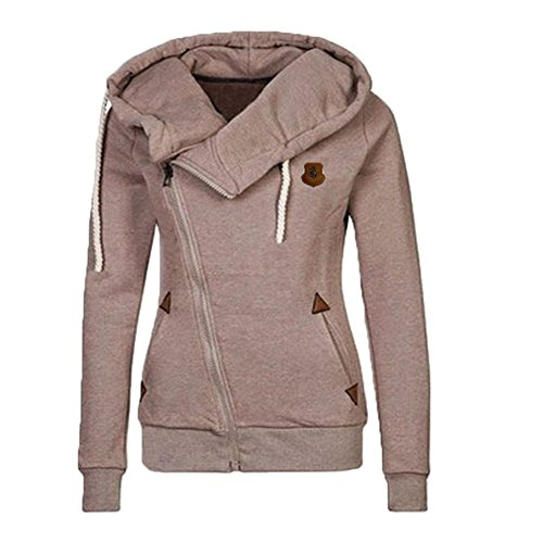 Newbestyle Women Oblique Funnel Neck Zipper Up Hoodies Casual Long Sleeve Sweatshirt Coat, Khaki, -