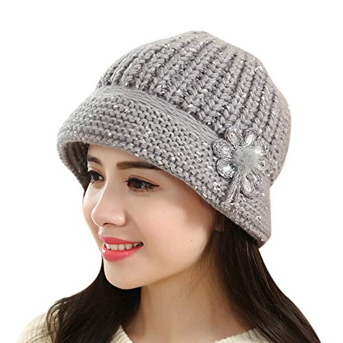 - EnjoCho Clearance Sale!Elegant Women Knitted Hats Faux Rabbit Fur Cap Autumn Winter Berets Ladies Female Fashion Skullies Beret Hat (Gray)