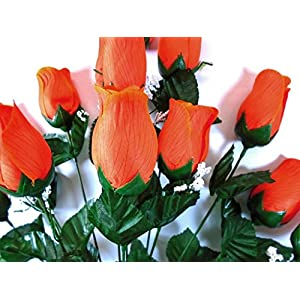 "Phoenix Silk Rose Bud Bush 12 Artificial Silk Flowers 20"" Bouquet 3974 ORANGE 75"