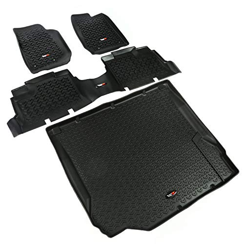 (Rugged Ridge All-Terrain 12988.04 Black Front, Rear and Cargo Floor Liner Kit for 2011-2018 Jeep Wrangler Unlimited (4-Door) Models )