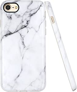 A-Focus Case for iPhone 7 Case, iPhone SE 2020 Case for Men, iPhone 8 Marble Case, White Marble Stone Pattern Anti Scratch Slim Fit Flexible TPU Cover Case for iPhone SE / 8/7 4.7 inch Matte Gray 2