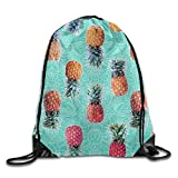 Pineapple Swim On The Ocean Drawstring Bag Casual Fashion Cute Beach Backpack Sack Bag Sackpack Rucksack Daypack Beach Vacation Shopping Shoulder Bags Gym Bag Sport Bag Gymbag