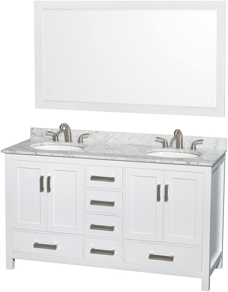 Wyndham Collection Sheffield 60 inch Double Bathroom Vanity in White, White Carrara Marble Countertop, Undermount Oval Sinks, and 58 inch Mirror