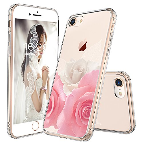 (iPhone 7 Case, iPhone 8 Case for Girls, MOSNOVO Floral Roses Printed Flower Clear Design Transparent Plastic Hard Case with TPU Bumper Protective Case Cover for iPhone 7 / iPhone 8)