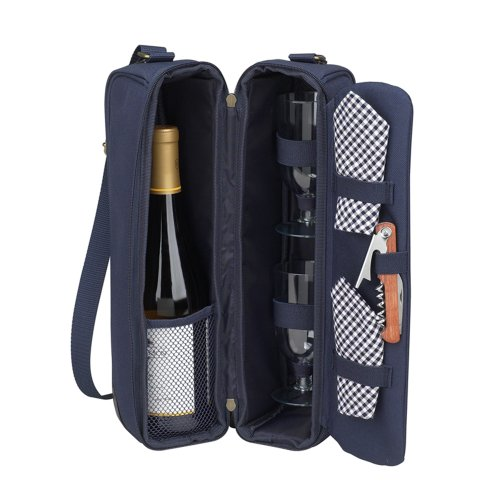 Picnic at Ascot - Deluxe Insulated Wine Tote with 2 Wine Glasses, Napkins and Corkscrew - Navy Assembled 1 Wide Champagne