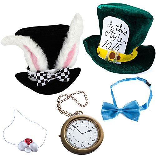 Tigerdoe Rabbit Costume - 5 Pc Set - White Rabbit Costume - Mad Hatter Costume - Bunny Costume