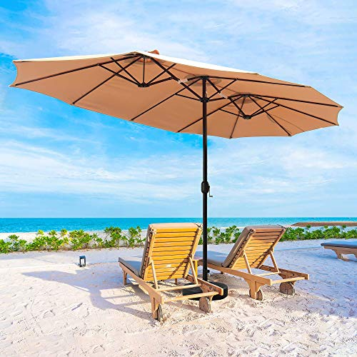 Cozy Daisy 15 FT Patio Umbrella Outdoor Double-Sided Large with Crank For Outside Shade Sofa or Pool, 12 Ribs,Base Not Included, Beige