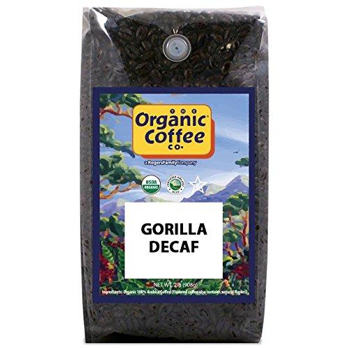 The Organic Coffee Co, Decaf Gorilla- Whole Bean, 2-Pound (32 oz.), Swiss Water Process- Decaffeinated, USDA Organic