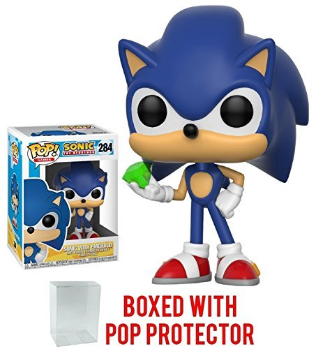 Funko Pop! Games: Sonic The Hedgehog - Sonic with Emerald Vinyl Figure (Bundled with Pop BOX PROTECTOR CASE)