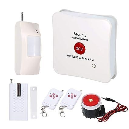OWSOO Sistema de Alarma Inalámbrico gsm SMS SOS Llamada Alarma de Marcación Automática con PIR Detector