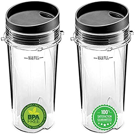 Ninja 16oz Replacement Cups with Sip /& Seal Lid Compatible with Nutri Ninja BL770 BL780 BL660 Professional Blender