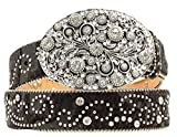 Nocona Women's Crystal Oval Buckle Belt, Black, L