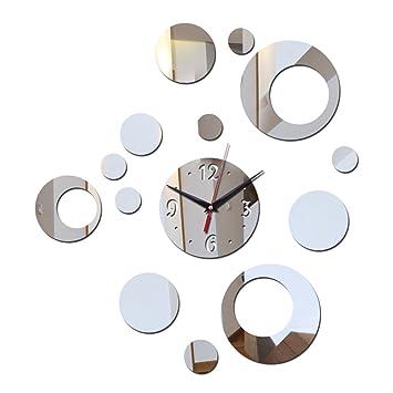 WXIN DIY 3D Espejo De Acrílico Decoración del Hogar Pegatinas De Pared Reloj Relojes De Pared Reloj Horloge Sala De Estar Moderno Cuarzo - Plata: Amazon.es: ...