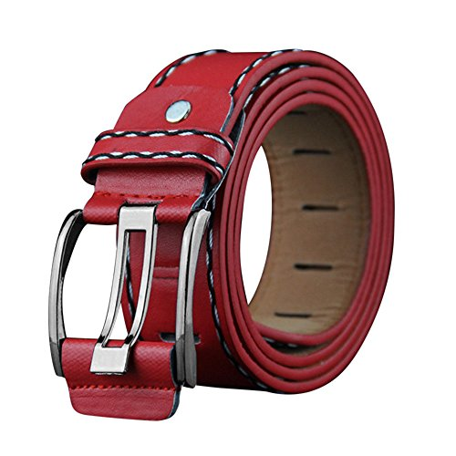 Men's Belts,Leisure Leather Smooth Alloy Girdle Buckle Waistband Belt Strap-Trim to Perfect Fit for Business Worker By MaxFox (Red)