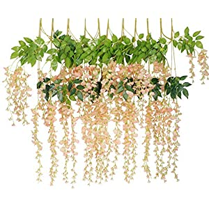 Lannu 12 Pack 3.6 FT Artificial Fake Hanging Wisteria Vine Ratta Silk Flowers String for Home Wedding Party Decor (Champagne) 20