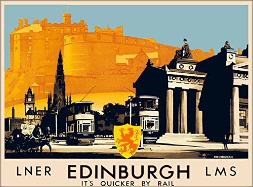 LNER Edinburgh Scotland England LMS Great Britain Vintage Railroad Travel Wall Decor Advertisement Art Poster Print. 10 x 13.5 inches (Print Vintage Scotland)