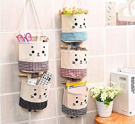 Yunobi Bolsa de almacenamiento para colgar en la pared de varias capas impermeable de algod/ón para colgar en la puerta para el dormitorio y el ba/ño lino
