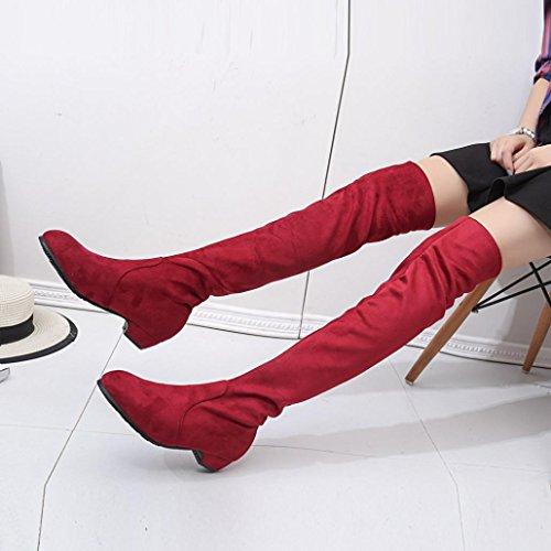 Kolylong® Stiefel damen Frauen Elegant Stiefel Lang Herbst Winter Warm Stiefel mit absatz Flache Schuhe Stiefel Vintage Overknee Stiefel Mädchen Schuhe Über Knie Rot