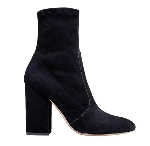 Shiney De Las Mujeres Zapatos De Trabajo Botines De Tacón Grueso del Color del Tobillo del Color Desnudo De: Amazon.es: Zapatos y complementos