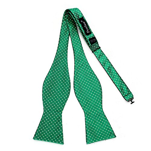 PenSee Mens Exquisite Self Bowtie Polka Dots Woven Silk Bow Ties-Various Colors (Green & Light Yellow Dots) (Dots Tie Polka Woven)