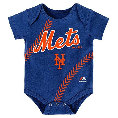 New York Mets Blue Stitches Bodysuit Onesie Creeper 0-3 Months