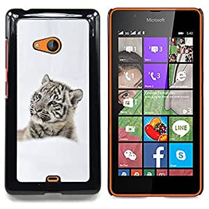 Jordan Colourful Shop - Thoughtful Tiger In Snow Snow tiger For Microsoft Nokia Lumia 540 N540 - < Personalizado negro cubierta de la caja de pl??stico > -