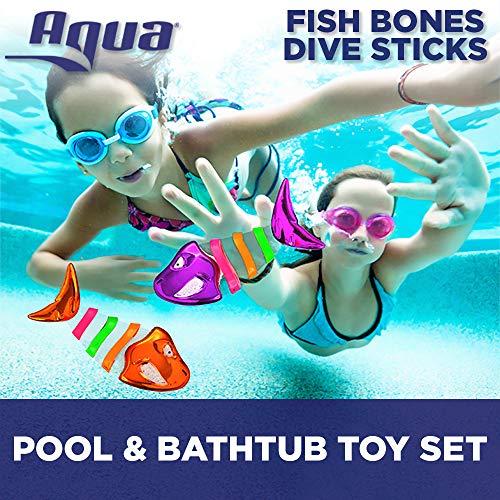 Aqua Fish Bones Dive Sticks, 3 Piece Set, Toss, Dive & Retrieve, Pool and Bathtub Toy, Ages 5 and Up